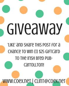Check out this month's giveaway from @carrollton_office_express! Just follow the directions above & you could win a $25 gift card to @irishbredpubcarrollton! #visitcarrollton #carrolltonga #shoplocal #eatlocal
