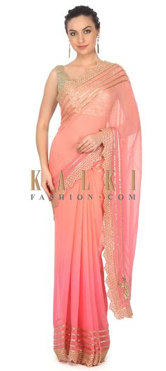 Buy this Shaded saree in pink and peach with kardana embroidery only on Kalki