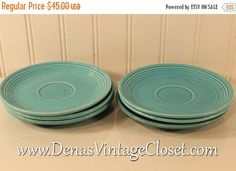 60% OFF Mothers Day Sale Vintage Fiesta Ware Turquoise Blue Fiesta Saucers Plates Lot of 6