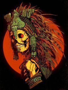 Skull Art by David Rapoza ☠️ Aztec Drawing, Mexican Art Tattoos, Aztec Culture, Aztec Warrior, Susanoo, Mexico Art, Illustration Vector, Illustrations, Skeleton Art