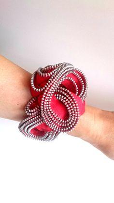 Blossom zipper bracelet by ReborneJewelry on Etsy