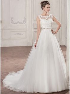 Ball-Gown Scoop Neck Chapel Train Tulle Wedding Dress With Beading Appliques  Lace Sequins Affordable c1e91e508671