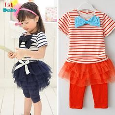 7.50$  Watch now - http://ali9m8.shopchina.info/go.php?t=1940140072 - Children clothing suit Kids set summer wear Short sleeve set t shirt+pants free shipping girls clothing set baby navy red 7.50$ #magazineonlinebeautiful