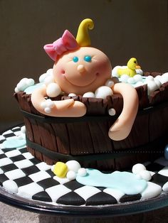 Baby in the bath baby shower cake
