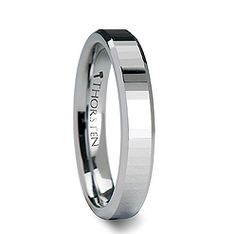 Rectangular Faceted Tungsten Ring Beveled Edges