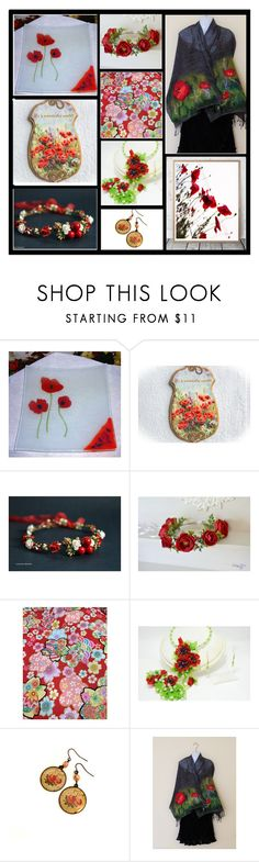 """Red Flowers"" by oxysfinecrafts ❤ liked on Polyvore"