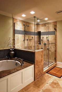 Bring the look to your home with our guides to the best lighting, tile, and fitting sources for your bathroom remodel. #bathroomremodelideaswithtubandshower