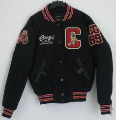 Coogi-Varsity-Jacket-Juniors-Small-Black-Red-Embroidered-Boxing-Kangaroo-Emblems