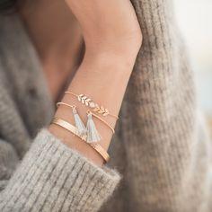 Combinaison bracelet Evora blanc jonc fermé Marcel jonc pompons barbara