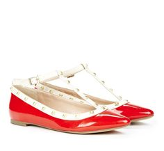 Glossy Red T-Strap Flats.