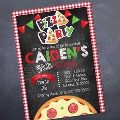 Pizza Party Birthday Invitation - Silvers Desgin