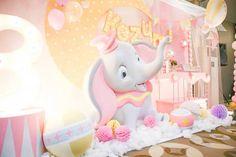 Party setup + backdrop from a Girly Circus + Dumbo Birthday Party via Kara's Party Ideas   KarasPartyIdeas.com (21)