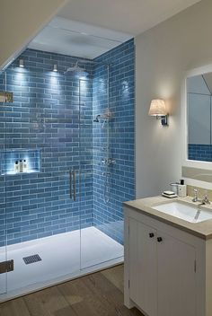 80 Cool Bathroom Shower Makeover Decor Ideas I LOVE the blue brick pattern in the shower! I 80 Cool Bathroom Shower Makeover Decor Ideas I LOVE the blue brick pattern in the shower! I don't know why, but I feel like it goes well the shower's usage. Bathroom Trends, Bathroom Renovations, Basement Bathroom Ideas, Cool Bathroom Ideas, Bathroom Makeovers, Small Bathroom Remodeling, Basement Remodeling, Bedroom Remodeling, House Renovations