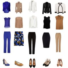 Work capsule wardrobe. 15 pieces. 150 combinations. Interesting. Would not necessarily choose that blue but could substitute another color