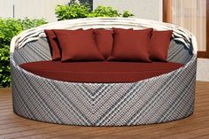 The Wink Canopy Day Bed features herringbone weave for an attractive pattern. Perfect for lounging by the pool. Seat Cushions, Outdoor Daybed, Outdoor Decor, Cheap Patio Sets, Bed Weather, Weather Stones, Daybed Canopy, Creme Color