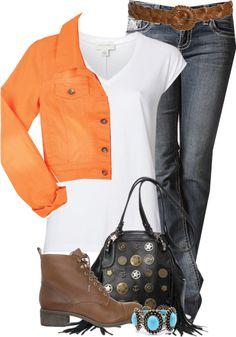 """Orange Jacket"" by melindatg on Polyvore"