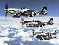 P-51 Mustangs of the 375th Fighter Squadron, Eighth Air Force mid-1944.