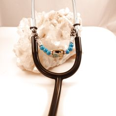 Women's Beaded Stethoscope Charm Brown and Sky Blue with Silver Accents by DungleBees on Etsy