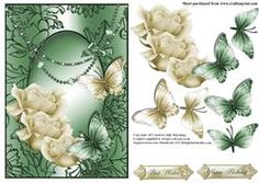 The Cream And Green Roses And Butterfly Swirl Card Front