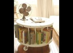 Electrical spool coffee table and book shelf!