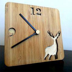 Desk Clock  Bamboo African Deer by MabelDesignsAU on Etsy, $29.00