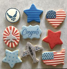 Iced Cookies, Royal Icing Cookies, Sugar Cookies, Cookie Designs, Cookie Ideas, Cookie Recipes, Cookie Decorating, Decorating Tips, Military Retirement Parties