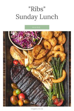 """A tender vegan ribs recipe from 'Your Mom's favourite Channel'  Sunday's are usually in most cultures the """"cooking day"""" Big lunch…  So I couldn't resist using these beautiful """"ribs"""" from HERBI VOHR as an excuse to make this recipe. Soft and tender """"ribs"""" with beer battered onion rings and mushrooms, roasted potato wedges, red cabbage and peppadew salad and asparagus. Vegan Ribs, Beer Battered Onion Rings, Tender Ribs, Roasted Potato Wedges, Red Cabbage, Rib Recipes, Smoked Paprika, Pot Roast, Carne Asada"""
