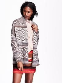 Patterned Cocoon Cardigan