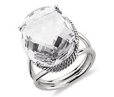 Oval White Quartz Ring in 14k White Gold
