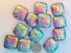 12 Handmade DICHROIC Fused Glass PENDANT/CABOCHONS Accent Tiles Knobs #Fused