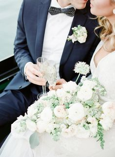 crystal champagne flutes romantic gondola elopement Ashley Rae Photography