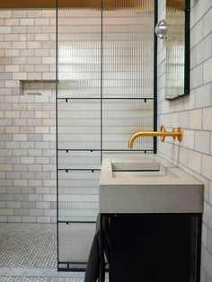 Home Interior Inspiration Trend Focus: Reeded Glass and all things Fluted Brass Bathroom, Bathroom Wall Lights, Home Interior, Bathroom Interior, Modern Interior, Bathroom Ideas, Interior Design, Bathroom Stuff, Bathroom Goals
