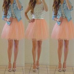 Cute outfit! just a tad longer skirt!