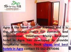 Best 4 star hotel in agra, after enjoy the service definitely refer the name of those best hotel in agra, contact for booking 91-562-2970046 http://www.siris18.com/about-our-hotel