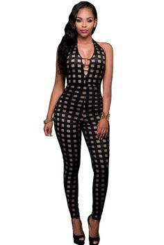 43b39e880cb Black Nude Illusion Checkered Jumpsuit Rompers Women