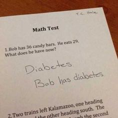31 Hilarious Test Answers from Smart Kids some times word math problems are just so out there! Funny Kid Answers, Funniest Kid Test Answers, Kids Test Answers, Stupid Test Answers, Funny Shit, The Funny, Funny Jokes, Hilarious Sayings, Funny Humour