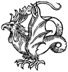 The Basilisk – or Cockatrice – is spawned from a spherical, yolkless egg, wh. - The Basilisk – or Cockatrice – is spawned from a spherical, yolkless egg, which must be laid du - Mythological Creatures, Fantasy Creatures, Mythical Creatures, Medieval Drawings, Medieval Art, The Dog Star, Pen & Paper, Gravure Illustration, Beast Creature