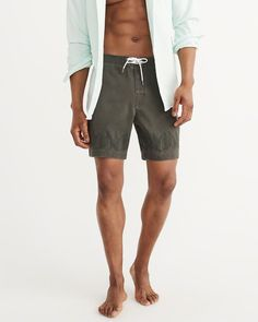 A&F Men's Classic Boardshorts in Olive Green - Size 36