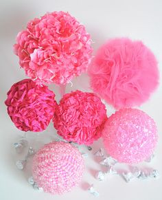 DIY Pink decorations ~ All you need is foam balls, tissue paper, sparkles and glue!