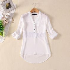 Womens Spring Summer V-neck Chiffon Long Sleeve Casual elegant Shirt Blouse Tops Chiffon Shirt, Chiffon Tops, White Chiffon, Sheer Chiffon, White Cotton, Blouse Styles, Blouse Designs, Chemises Sexy, Spring Shirts
