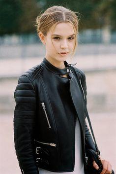 Paris Fashion Week SS 2014....Josephine LOVE the leather jacket