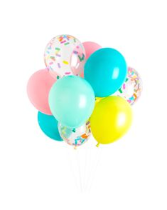 Our Ice Cream Party Balloons are our best selling product! Includes our signature sprinkles confetti balloons -- perfect for your Ice Cream or Donut birthday party! Create a balloon garland or inflate to float! Donut Party, Donut Birthday Parties, Birthday Party Themes, Birthday Ideas, 3rd Birthday, Women Birthday, Summer Birthday, Sleepover Party, Birthday Design
