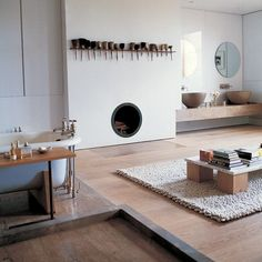 Four cedar blocks and a marble tabletop in Terence Conran's house, via House to Home. Decor, Ideal Home, House Design, House, Interior, Home, Interior Architecture, Interior Spaces, House Interior