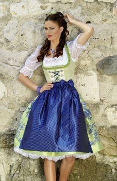 Krüger Manufaktur Dirndl 2012 - lindgrünes Petticoat Dirndl mit blauer Schürze