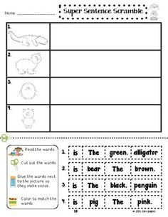 Super Sentence Scramble - This packet focuses on sentence order and words that make sense. It has 7 handouts that can be used as morning work, homework, or as a center. This activity reinforces sight word recognition, sentence order, and reading comprehension. $