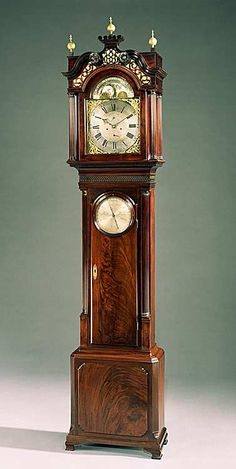 A GEORGE III MAHOGANY LONG CASE CLOCK WITH BAROMETER BY RICHARD CORLESS, STOCKPORT  WILLIAM BARKER OF WIGAN  Circa: 1770