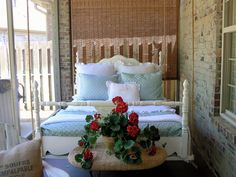 Hello, lovely bed on a porch! <3
