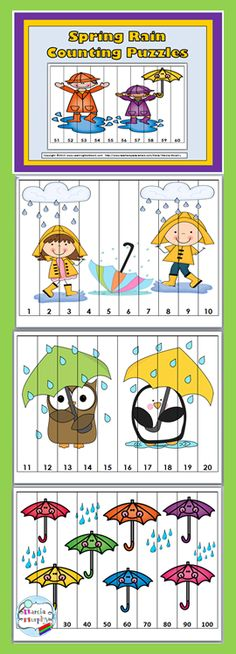 Spring Math Number Puzzles for Kids Counting Puzzles, Number Puzzles, Math Numbers, Puzzle Games For Kids, Puzzles For Kids, Autumn Activities, Activities For Kids, Kindergarten Math, Preschool