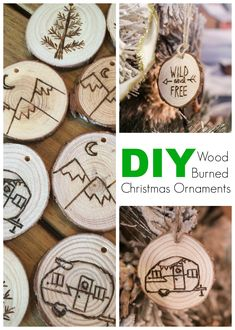 DIY Wood Burned Christmas Ornaments DIY Wood Burned Log Slice Ornaments: learn how to make these easy, ridiculously inexpensive, and charming ornaments for your rustic Christmas tree. Christmas Wood, Diy Christmas Ornaments, Homemade Christmas, Holiday Crafts, Christmas Carol, Christmas Gifts, Christmas Coasters, Christmas Island, Christmas Cactus