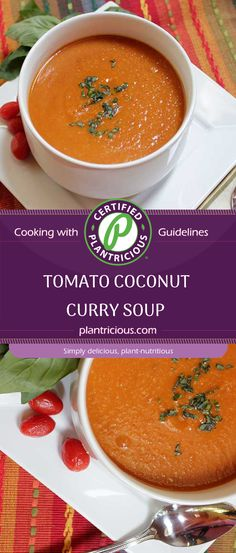 Winter season is here, and all I can think about is warm soup! There is nothing more comforting than cozying up with a blanket next to the fireplace, enjoying a nice warm bowl of nutritious and hearty veggie soup and this Tomato Coconut Curry Soup really hits the spot. Tomato Curry, Coconut Curry Soup, Veggie Soup, Yams, Plant Based Recipes, Winter Season, Soups, Veggies, Tasty